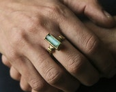 Chrysocolla rectangular shaped Antique style Ring set on solid yellow bronze-made to order