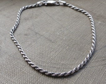 Clearance Sale-Sterling Rope bracelet - Twisted chain - Sterling silver - Silver rope - Rope Chain - Twisted rope bracelet - Twisted silver
