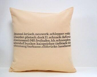 Typo pillow Hamburg hand printed 40 x40  zipper cream