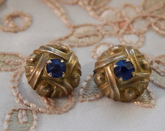 Brass Buttons with Blue Paste Stone in Prongs in the Center - 2