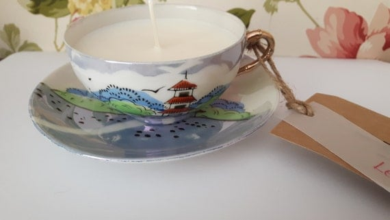 Hand poured scented soy wax vegan vintage tea cup candle, scented with lemon grass.