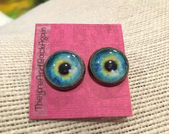 12mm Blue&Yellow EyeBall Stud Earrings