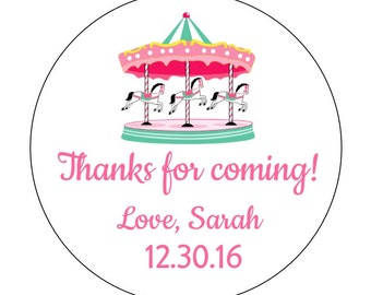 12 Carousel Horse Stickers, Circus Theme, Carnival, Carousel Labels, First Birthday, Circus Birthday, Whimsical Stickers, Carnival Stickers