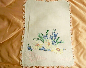 White Linen Scarf / Doily  With Pastel Embroidery - Cecelia-Marie - 202