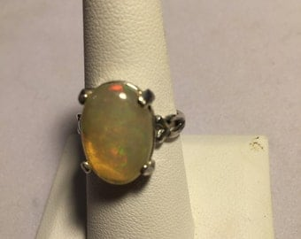 A wonderful Large 5.1 ct. Opal in a Vee-Shank Sterling Silver Setting     #430a