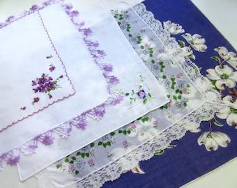Wedding   Handkerchiefs , Vintage Hankies   ,  Hanky ,  Batiste  Embroidery , Purple   Handkerchiefs   - set of 5.