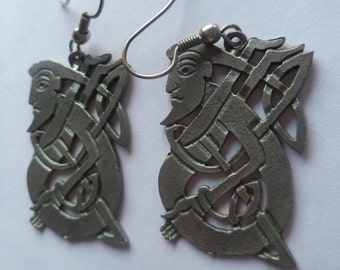 Vintage Unsigned Silvertone Base Metal Arts and Crafts Earrings