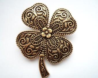 Vintage Signed JJ Antique Gold pewter Four Leaf Clover Brooch/Pin