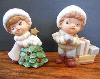 Homco Christmas Girl and Boy Figurines