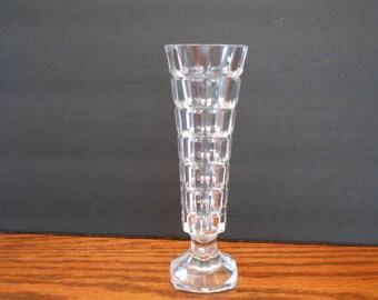 1980's Cristal d' Arques Block Design 24% Lead Crystal Vase