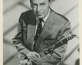 Woody Herman with clarinet jazz band music leader vintage photo