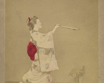 Japan young woman playing ball game w racket antique tinted albumen photo