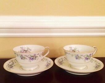 Vintage Noritake Violette 3054 Teacup Set