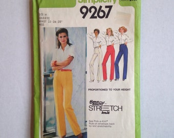 Vintage Simplicity Jiffy Sewing Pattern 9267 Misses' Proportioned Pants size 6, 8, and 10, Uncut