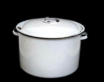 Enamelware Stockpot, Large Soup Pot, Lidded Stockpot, White Black Trim, Farmhouse Country Decor, Aged to Perfection