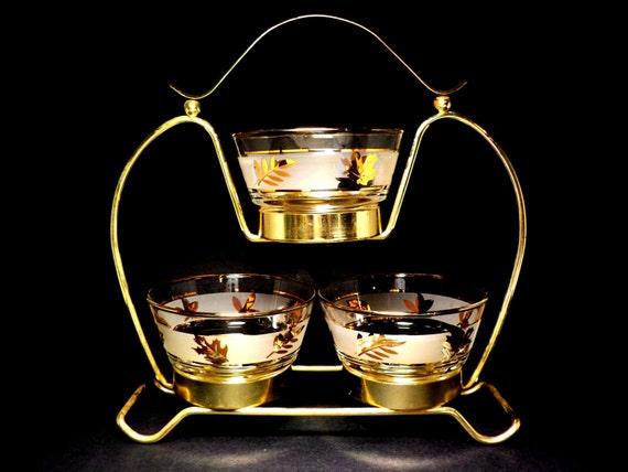 Condiment Set, 4pc Condiment Serving Set, Libbey Golden Foliage, 3 Bowls, Metal Stand, Golden Foliage Libbey Barware Set, Mid Century