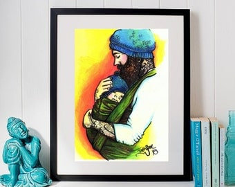 Daddy & Me - 8x10 Art Print - Midwife Decor - Baby-wearing Art Print