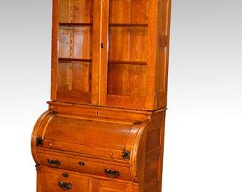17506 Oak Cylinder Secretary Desk