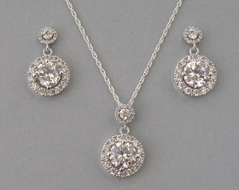 Cubic Zirconia, Rhodium Plated Over Brass, Necklace & Earrings, Set, Bridal Set, Crystal Necklace, Crystal Earrings, Bridesmaid Gift - DK360