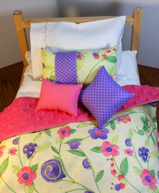 18 doll bedding yellow hot pink purple comforte - Hot pink and purple bedding ...