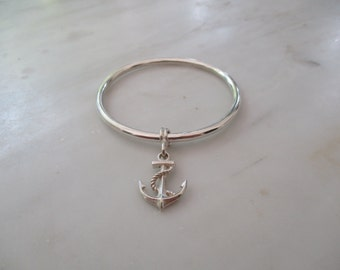 925 Sterling Silver Anchor Charm Bangle