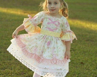 SALE...Buy 2 Get 1 Free..Instant Download PDF Sewing Pattern Tutorial Rose Clarie Victorian Style Girl's Dress, 6-12M to 10