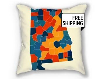 Alabama Map Pillow - AL Map Pillow 18x18