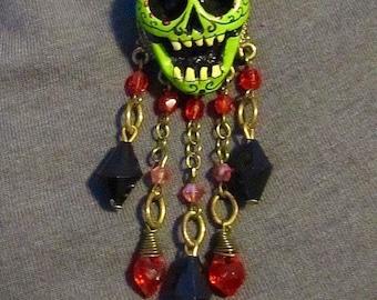 Dia de los Muertos Green Calavera necklace - OOAK handmade jewelry