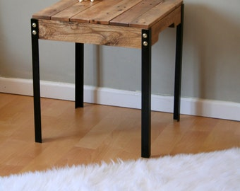 Rustic reclaimed wood desk table with industrial iron legs for Rustic iron table legs
