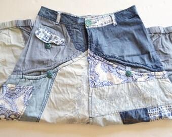 uneven patchwork jeans