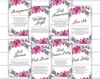 CUSTOM, Floral Wedding Wine Tags, Wine Poem Tags, Year of Firsts Wine Tags, Wine Gift Basket, Bridal Shower Wine Tags, Milestone Wine Tags