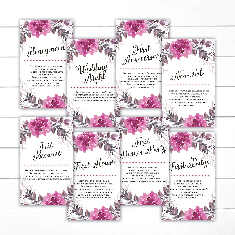 CUSTOM, Floral Wedding Wine Tags, Wine Poem Tags, Year of ...