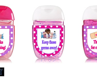 Doc McStuffins [inspired] Hand Sanitizer labels custom birthday party favors-- Peel and stick labels- Free Shipping!