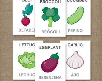 Vegetable Flash Cards Printable ENGLISH & SPANISH 4X5in.