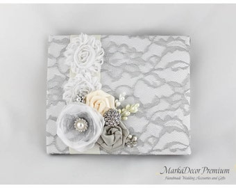 Wedding Lace Guest Book Pen Set Birthday Book Custom Bridal Flower Brooch Guest Books in White, Silver Gray and Ivory