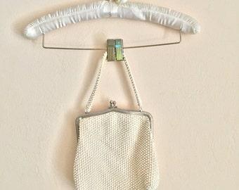 1950's cream beaded purse