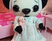 "Outfit 3-PC ~ ""Sweet Dreams"" nightie/nightgown, headband, pink mini-bear for my 7-inch dolls"