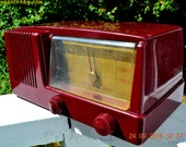 BURGUNDY Mid Century Retro Vintage 1950 General Electric Model 411 AM Tube Radio Totally Restored!