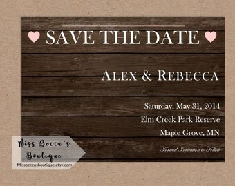 Save the Date wood background //Rustic Wedding//Outdoor Wedding