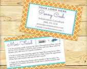 Double Sided Business Card with Mini Facial Instructions, Quatrefoil Design - DIGITAL FILE