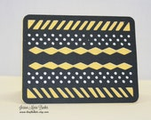 Black and Yellow Any Occasion Greeting Card, Blank Inside, A2 Card
