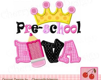 Pre-school DIVA with crown ,Pre-school with crown,School Diva digital applique SCH017 -4x4 5x5 6x6 inch-Machine Embroidery Applique Design