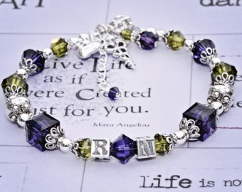Nurse Beaded RN Bracelet -Bali Silver -Purple Velvet and Olivine Swarovski Crystals