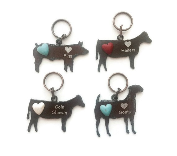 Love GOATS PIGS or HEIFERS  or Goin Showin Farm Animal Keychains with Faux Turquoise Heart made of Rustic Rusted Recycled Metal