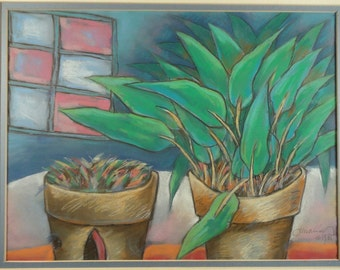 VINTAGE PASTEL PAINTING Original Art Still Life House Plant Green Colorful Stained Glass Window Interior Decor Flower Pots Modernist Framed