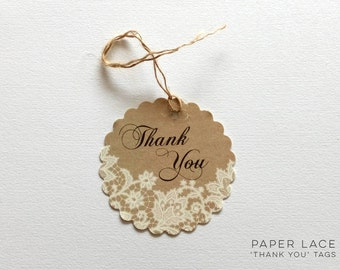 Paper Lace Thank You Tags - Pack of 5