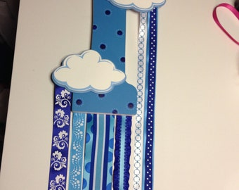 Custom Made Barrette Holder: Rainbow Cloud
