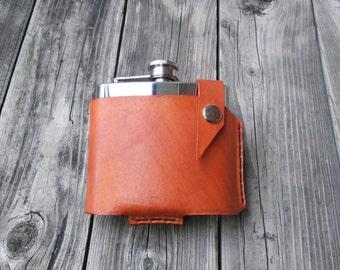 Leather flask case, holster, holder, men, biker, custom made, genuine, tan