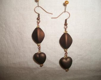 Brown Frosted Heart Dangle Earrings Mocha Chocolate