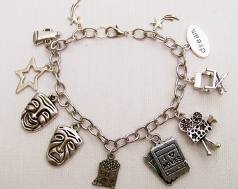 I Love Movies Charm Bracelet, Rather be at the Movies, The Silver Screen, Escape to the Movies, Gift for the Movie Lover, Movie Jewelry